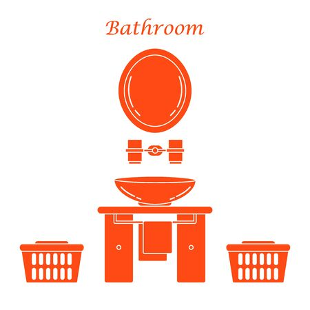 Cute vector illustration with variety bathroom elements: mirror, stand for glasses, washbasin, towel, towel holder, laundry baskets. Design for poster or print.