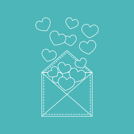 Cute vector illustration of postal envelope with hearts. Design for banner, flyer, poster or print. Greeting card Valentines Day.