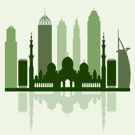 Vector illustration of United Arab Emirates skyscrapers silhouette. Dubai and Abu dhabi buildings.