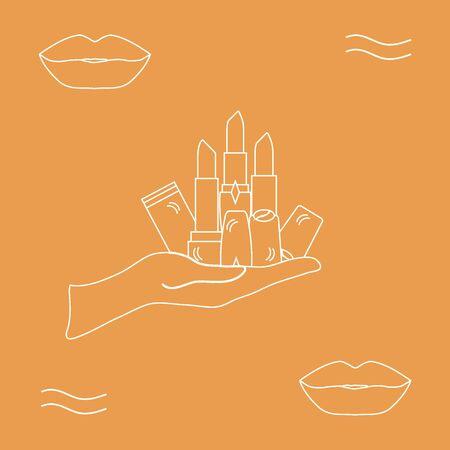 Ilustración del vector con la mano sosteniendo un varios tubos de lápiz labial. estilo de moda de la moda del encanto.
