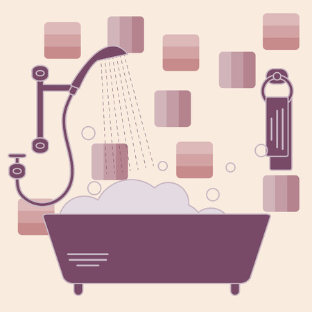 douche: Cute vector illustration of variety bathroom elements: shower, bath with foam, soap bubbles,  towel hanging on holders, bathroom tiles. Design for poster or print.