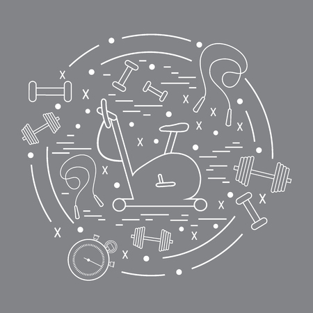 Vector illustration of different kinds of sports equipment arranged in a circle. Including icons of skipping rope, stopwatch, exercise bike, dumbbells. Isolated elements  on a colored background.
