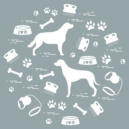 dog grooming: Cute vector illustration goods to care for dogs arranged in a circle.  Health care, vet, nutrition, exhibition. Design for banner, poster or print.