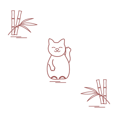 Stylized icon of japanese lucky cat Maneki Neko. Travel and leisure. Design for banner, poster or print. Illustration