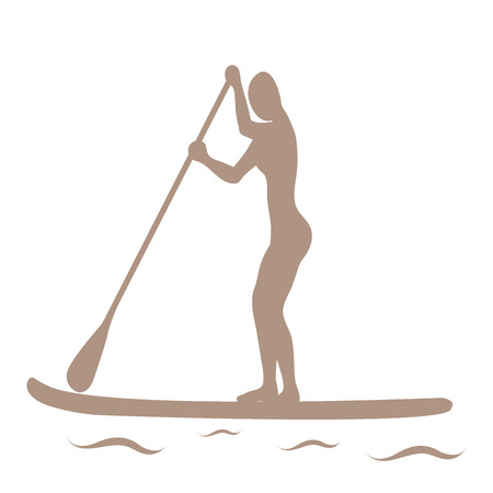 Vector illustration of stand up paddling female silhouette icon on a white background. Template for your design, article or print. Illustration