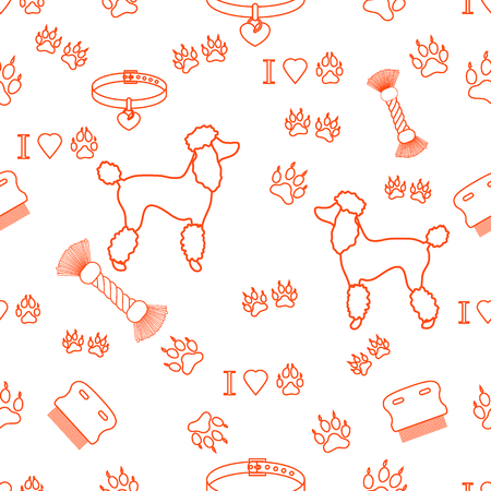 Seamless pattern with poodle silhouette, comb, collar, dog tracks, hearts and toy for dogs from a rope. Design for banner, poster or print. Illustration