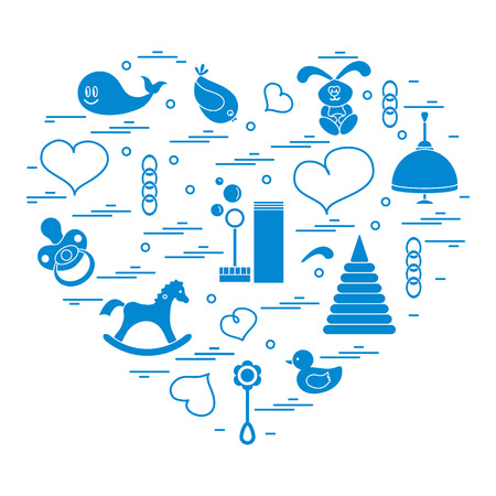 Vector illustration kids elements arranged in a heart: bird, whale, pacifier, bubbles, pyramid, beanbag, rabbit, duck and other. Illustration