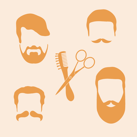 Cute vector illustration of men hairstyles, beards and mustaches, hairdresser tools care. Male haircuts. Barbershop symbol.