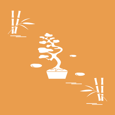 Stylized icon of bonsai tree and bamboo. Travel and leisure. Design for banner, poster or print. Illustration