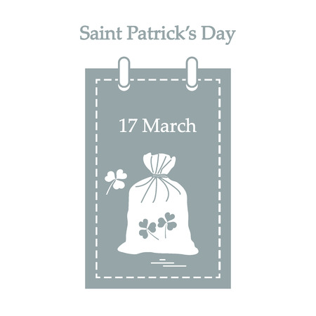 Cute vector illustration: calendar with a bag full of gold coins and clover for St. Patricks Day. Design for banner, poster or print.