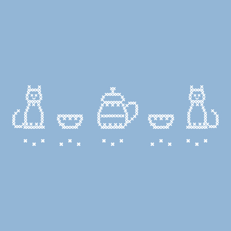 fancywork: Cute vector illustration cross embroidery of teapot with two cups and two cats. Design for banner, poster or print.