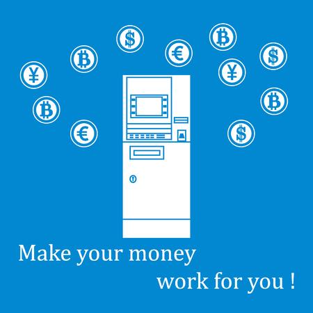 Cone estilizado de uma caixinha automática colorida ou caixa eletrônico e diferentes tipos de moeda e Bitcoins. Design para banner, cartaz ou impressão. Foto de archivo - 80951300