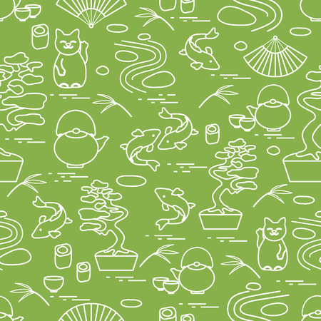 miniature: Cute vector pattern with bonsai tree, minimal rock garden, japanese lucky cat Maneki Neko, carp koi and other. Travel and leisure. Illustration