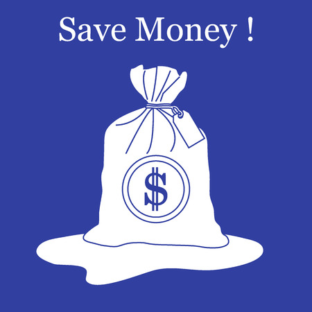 stylized icon of a knotted bag with money design for banner