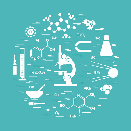 pounder: Stylized vector icon of variety scientific, education elements: microscope, flask, formula, pestle and other. Design for banner, poster or print.