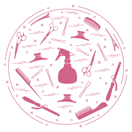 Vector illustration elements arranged in a circle: curling iron, hairclip, combs, pins, barrettes, scissors, sprayer. Design element for postcard, banner, flyer, poster or print.