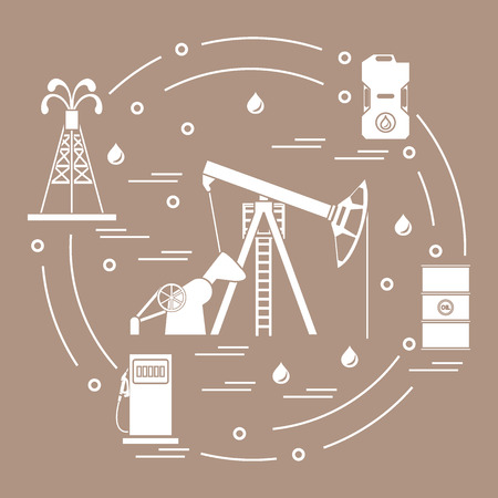 filling station: Cute vector illustration of the equipment for oil production, canister of gasoline, barrels with oil, gas station arranged in a circle. Design for poster or print.