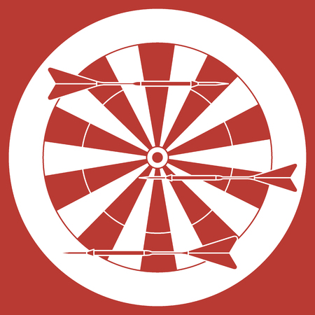 needle tip: Cute vector illustration of target and arrows for the darts. Sports theme. Design for banner, poster or print.