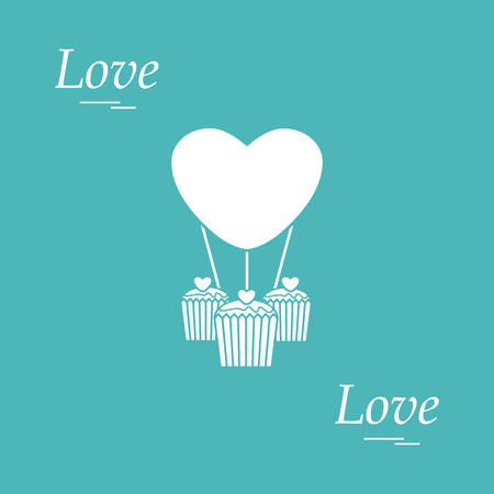 glaze: Cute vector illustration of love symbols: heart air balloon icon and three cupcakes. Romantic collection. Design for banner, flyer, poster or print.