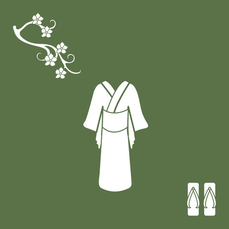 cherry wood: Cute illustration of branch of cherry blossoms and traditional japanese clothing and shoes. Set of Japan traditional design elements. Illustration