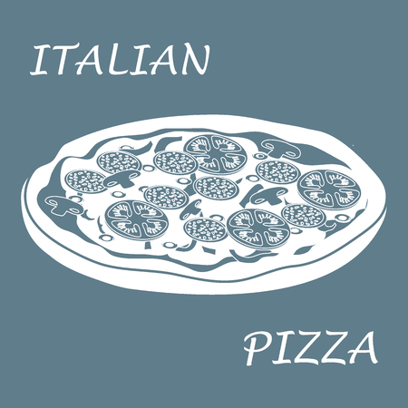 fried: Nice illustration of tasty, appetizing pizza with inscriptions on a colored background.