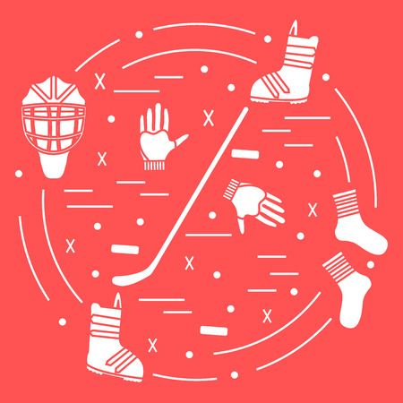 brassy: Vector illustration of various subjects for hockey and snowboarding arranged in a circle. Including icons of helmet, gloves, stick, puck, socks, snowboard boots.