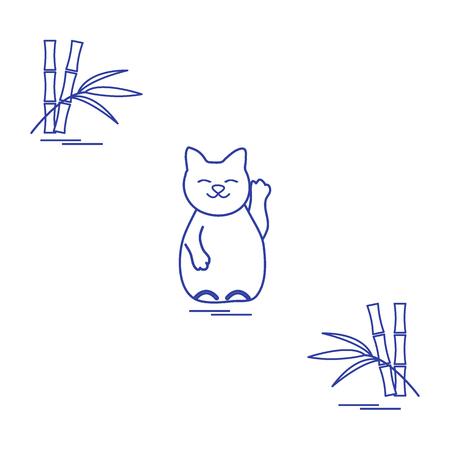 Stylized icon of japanese lucky cat Maneki Neko. Travel and leisure. Design for banner, poster or print. Ilustração