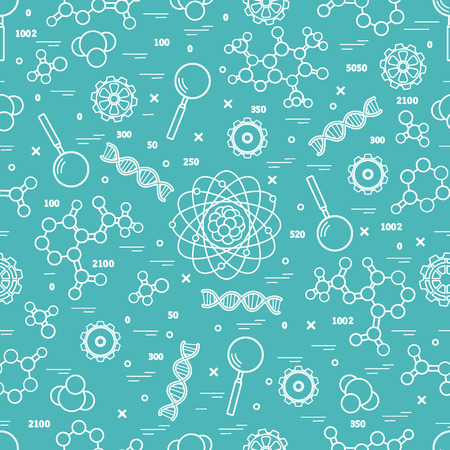 Seamless pattern with variety scientific, education elements. Design for banner, poster or print.