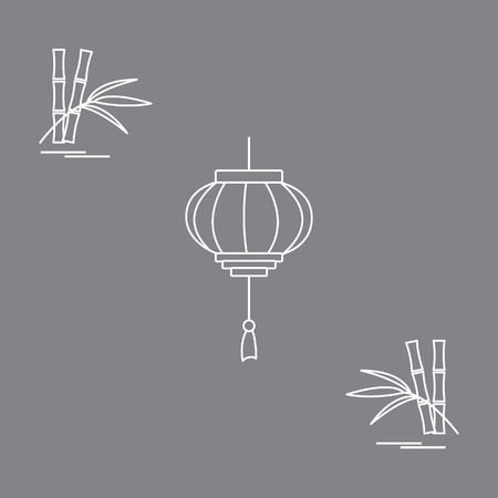 Stylized icon of the chinese lantern and bamboo. Travel and leisure. Design for banner, poster or print.