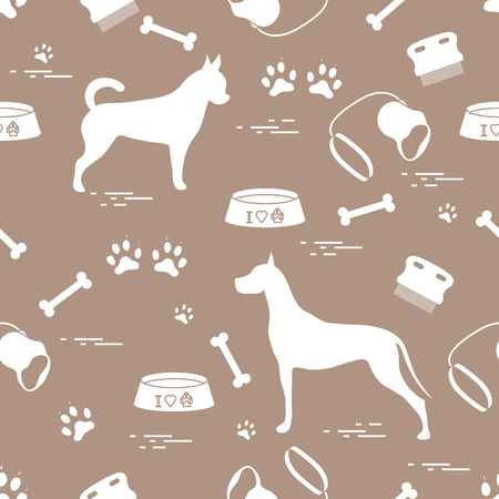 Seamless pattern with great dane and chihuahua, silhouette, comb, collar, leash, bone, bowl for food, dog tracks. Design for banner, poster or print.