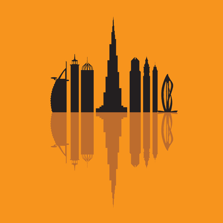 Vector illustration of United Arab Emirates skyscrapers silhouette. Dubai buildings and symbol. Design for banner, poster or print.