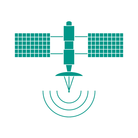 wireless signal: Stylized vector icon of space satellite. Design for banner, poster or print.