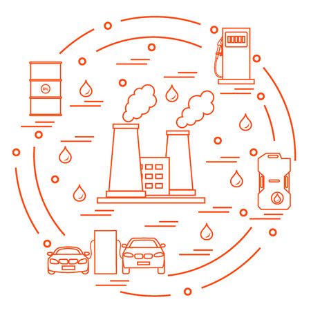 Cute vector illustration of refinery plant with smoking chimneys, canister of gasoline, barrels with oil, petrol station with two cars arranged in a circle. Design for poster or print.