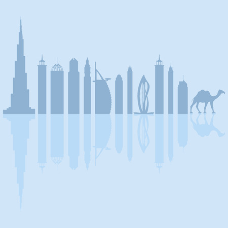 Illustration of the city of Dubai, UAE (skyline)
