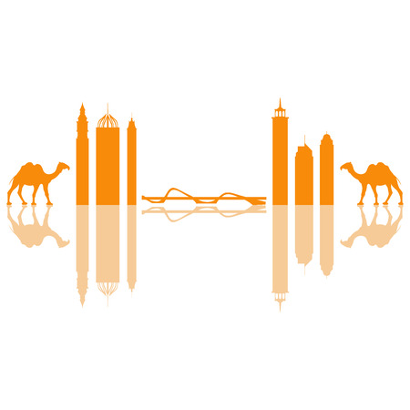 camel desert: Vector illustration of United Arab Emirates skyscrapers silhouette and camel. Dubai buildings and symbols. Design for banner, poster or print.