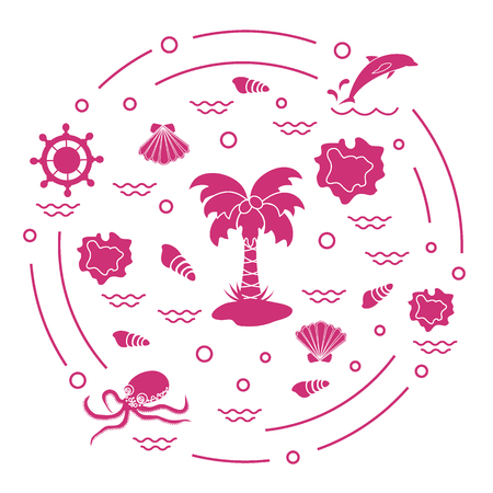 Cute vector illustration with different objects related to tourism and outdoor recreation arranged in a circle. Design for banner, poster or print. Ilustração