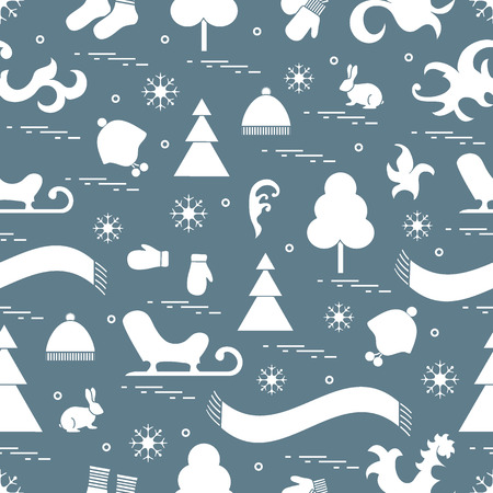 conifer: Seamless pattern with variety winter elements:  sleigh, tree, scarf, hat, mittens, socks and other. Design for banner, flyer, poster or print.