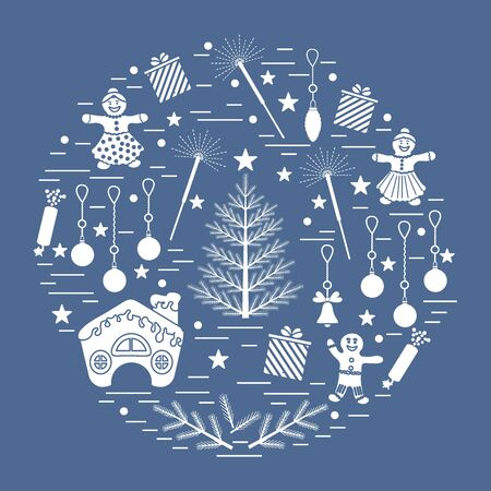 coniferous: Vector illustration of different new year and christmas symbols arranged in a circle.