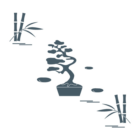 miniature: Stylized icon of bonsai tree and bamboo. Travel and leisure design for banner, poster or print.