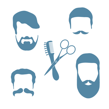 hairdo: Cute vector illustration of men hairstyles, beards and mustaches, hairdresser tools care. Male haircuts barbershop symbol.