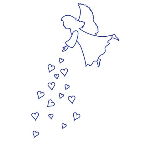 Cute vector illustration: angel showered hearts. Love symbol design for banner, flyer, poster or print.