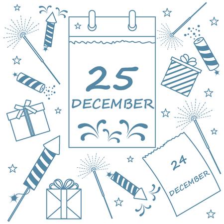 bengal: Vector illustration: calendar with christmas date page and gifts, sparklers, petards. Design for postcard, banner, flyer, poster or print. Illustration