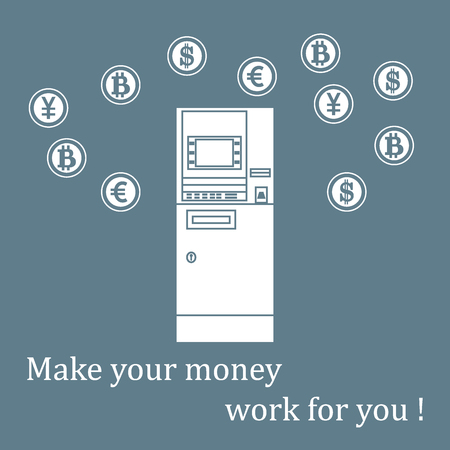 Stylized icon of a colored automatic teller machine or ATM and different types of currency and Bitcoins design for banner, poster or print.