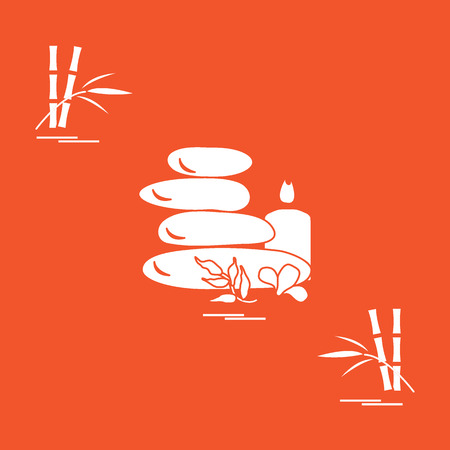 Stylized icon of massage stones for spa procedures, leaves, flower, candle and bamboo. Spa and beauty. Design for banner, poster or print.