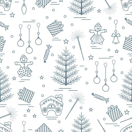 conifer: Winter seamless pattern with variety Christmas elements:  tree, balls, petard, sparkler, gingerbread man and house, bell, gifts, stars. Design for banner, flyer, poster or print.
