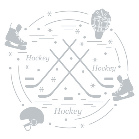 brassy: Vector illustration of various subjects for hockey arranged in a circle. Including icons of helmet, skates, goalkeeper mask, hockey stick, puck. Illustration