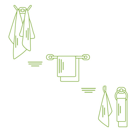 hangers: Set of  towels hanging on different holders. Design for poster or print.