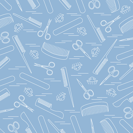 cuticle: Cute pattern of scissors for manicure and pedicure, combs, nail file, barrettes. Design for banner, flyer, poster or print.
