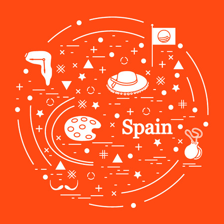 Vector Illustration With Various Symbols Of Spain Arranged In