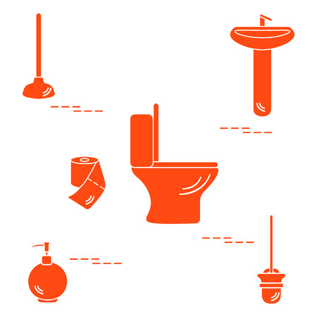 Vector illustration with toilet bowl, washbasin, toilet paper, soap dispenser, plunger, brush for toilet bowl. Design for poster or print.